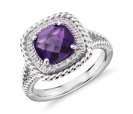Corda Cushion-Cut Amethyst Halo Ring in Sterling Silver (8mm)