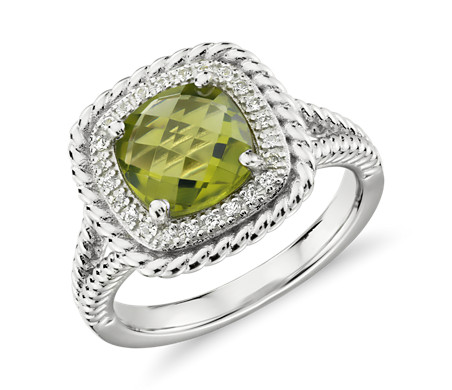Corda Cushion-Cut Peridot Halo Ring in Sterling Silver (8mm)