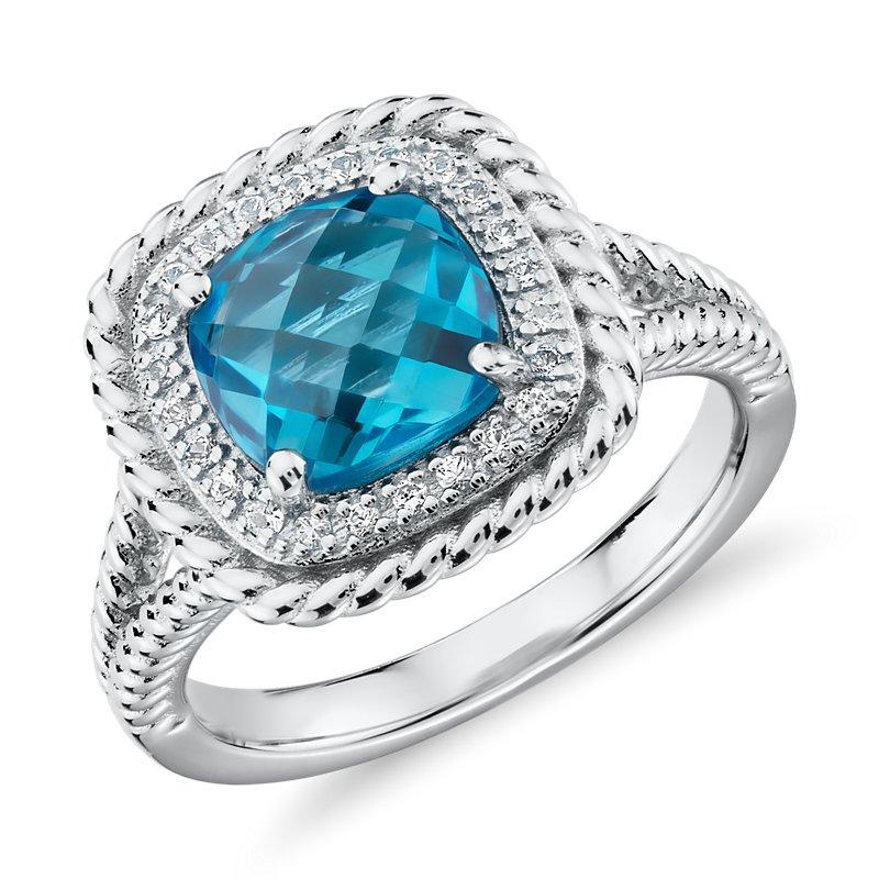 Corda Cushion-Cut Swiss Blue Topaz Halo Ring in Sterling Silver (