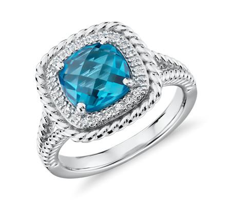Corda Cushion Cut Swiss Blue Topaz Halo Ring In Sterling