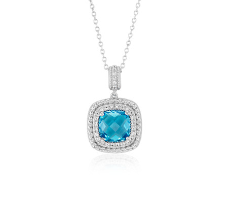 Corda Cushion-Cut Swiss Blue Topaz Halo Pendant in Sterling Silver (8mm)