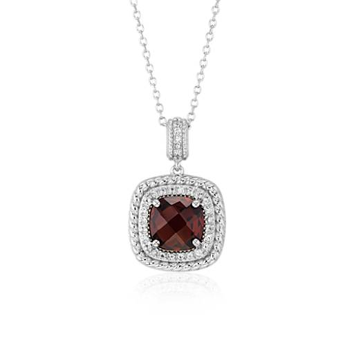 Blue Nile Corda Cushion-Cut Garnet Halo Pendant in Sterling Silver (8mm)