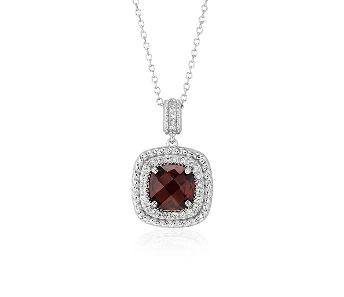 Corda Cushion-Cut Garnet Halo Pendant in Sterling Silver (8mm)