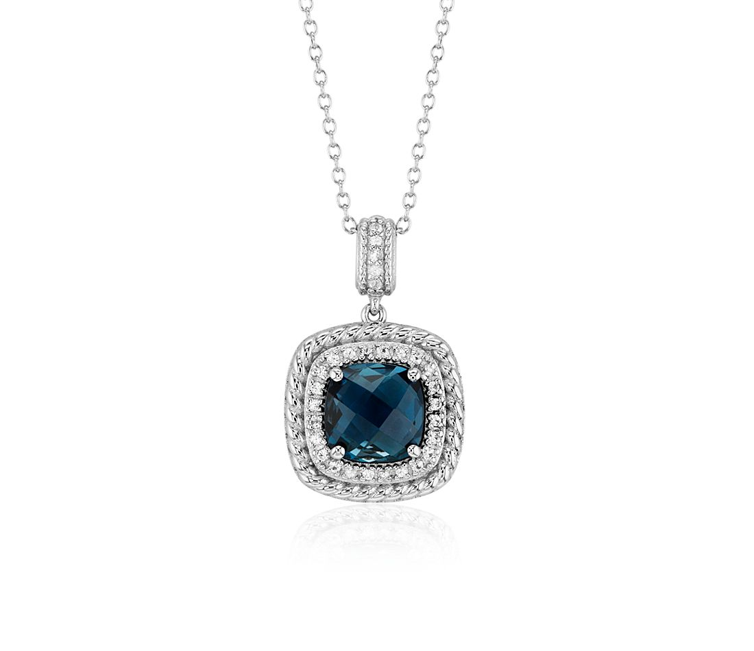 Corda Cushion-Cut London Blue Topaz Halo Pendant in Sterling Silver