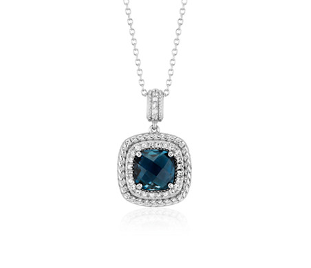 Corda Cushion-Cut London Blue Topaz Halo Pendant in Sterling Silver (8mm)