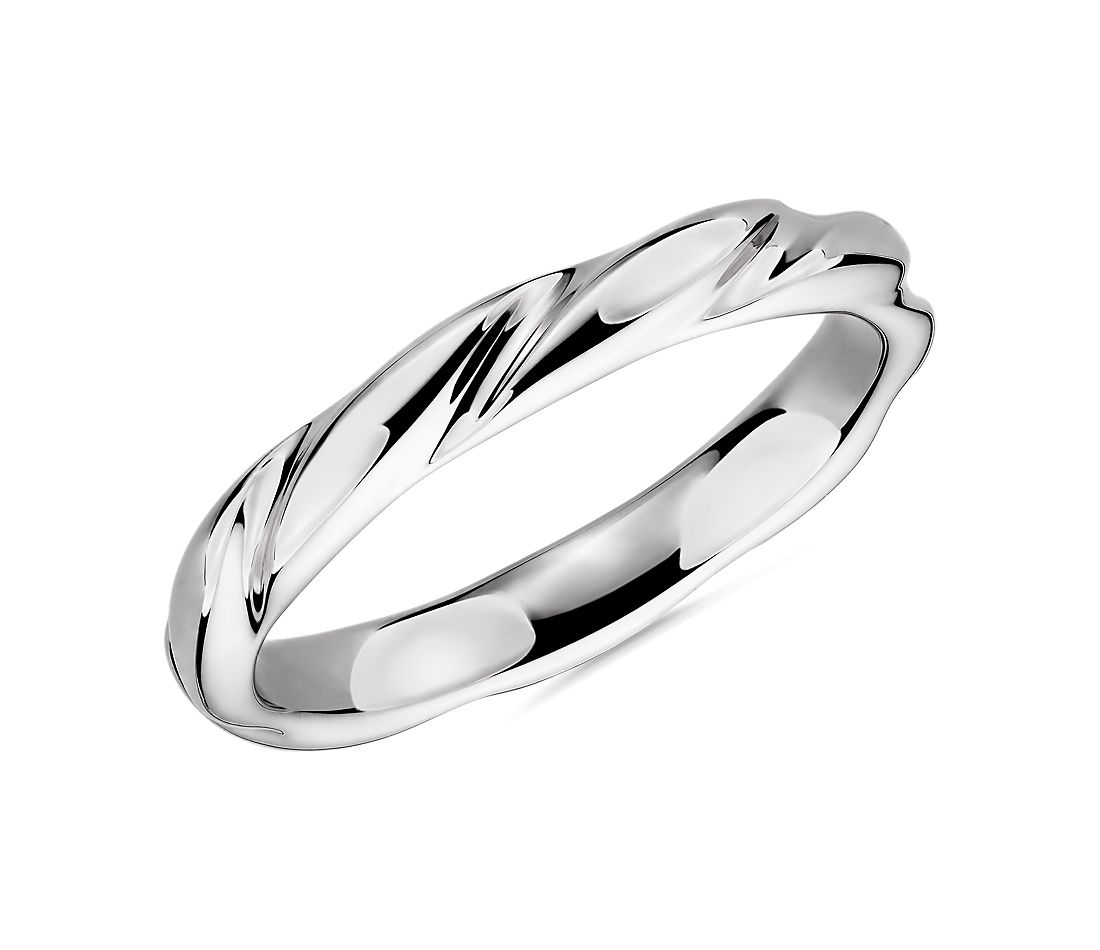 Swirl Male Ring in 14k White Gold (3mm)
