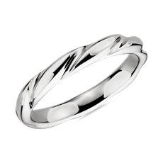Swirl Male Ring in 14k White Gold (3mm)