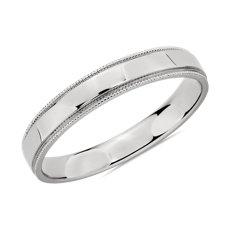 Milgrain Polished Male Ring  in 18k White Gold (3mm)