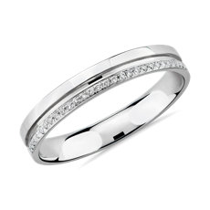 NEW Channel with Diamonds Female Ring in 14k White Gold (1/10 ct. tw.)