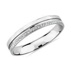槽镶18k 白金镶钻女士戒指(1/10 克拉总重量)