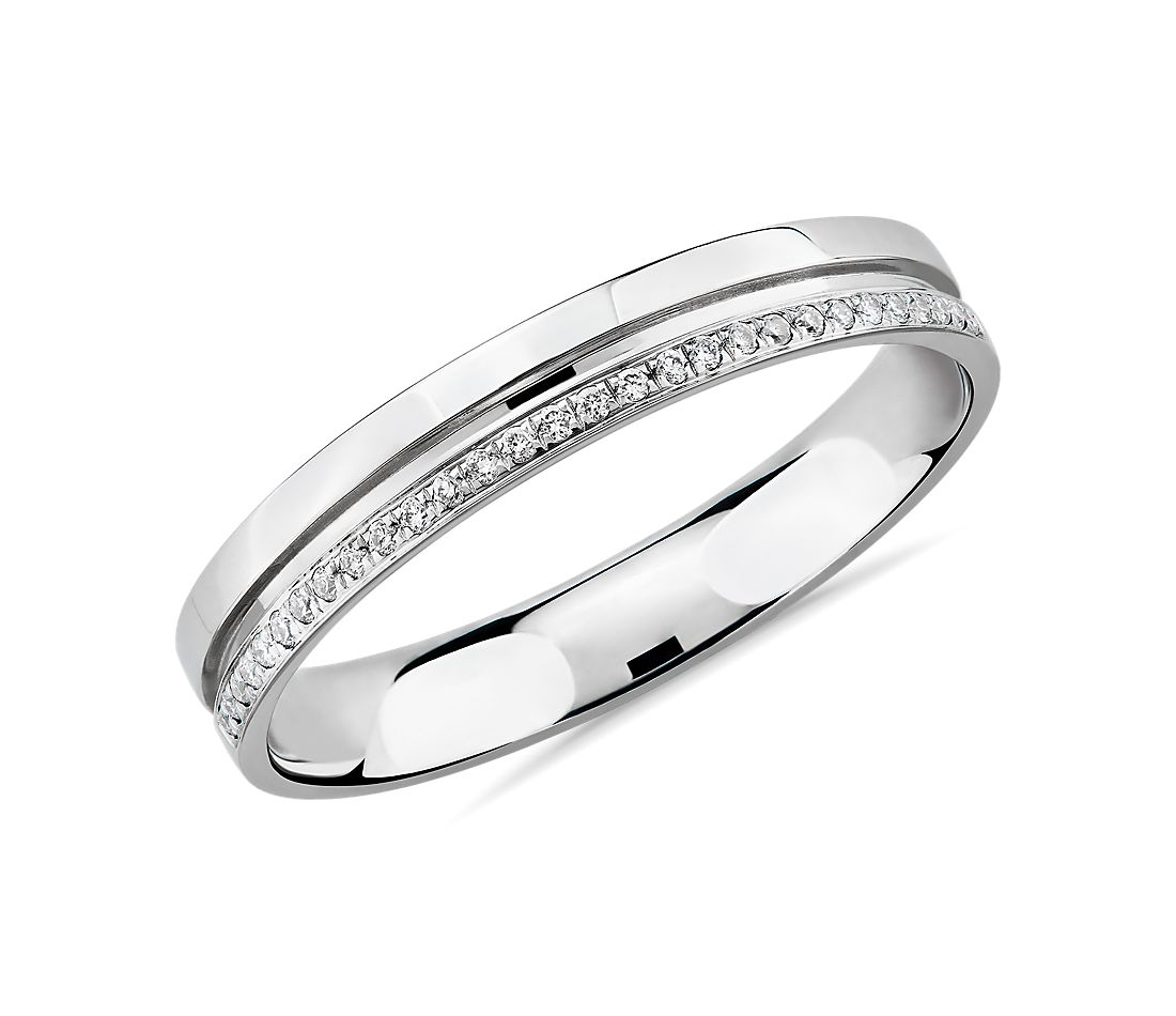 Channel with Diamonds Female Ring in Platinum (1/10 ct. tw.)