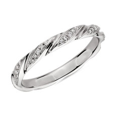 Swirl Diamond Female Ring in 14k White Gold (1/8 ct. tw.)