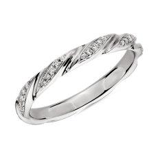 新款 18k 白金涡状钻石女士戒指<br>(1/8 克拉总重量)