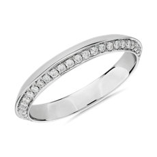 18k 白金密钉钻石刀锋式女士戒指(1/3 克拉总重量)