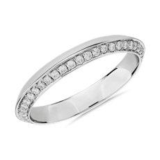 铂金密钉钻石刀锋式女士戒指(1/3 克拉总重量)