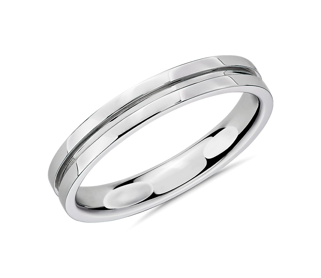 Channel Male Ring in 14k White Gold (3.5mm)