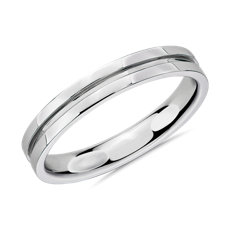 铂金槽式男士戒指(3.5毫米)