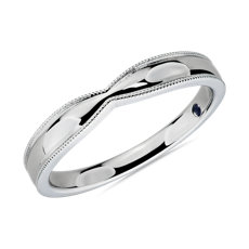 Tapered Milgrain Male Ring in Platinum (3.5mm)