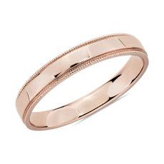 Milgrain Polished Male Ring in 14k Rose Gold (3mm)