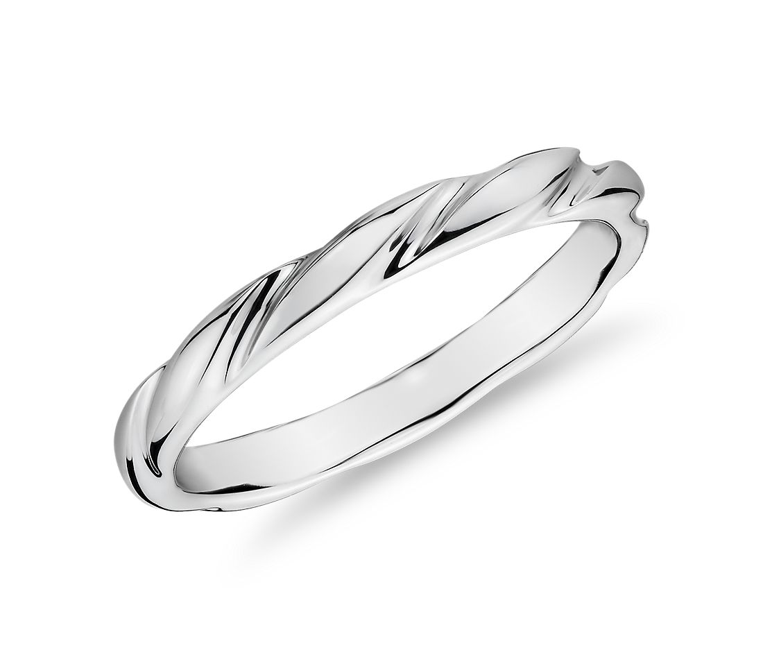 Swirl Female Ring in 14k White Gold (1.5mm)