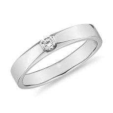 Flush Inset Diamond Male Ring in 14k White Gold (1/10 ct. tw.)