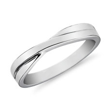 Crossover Male Ring in 14k White Gold (3.5mm)