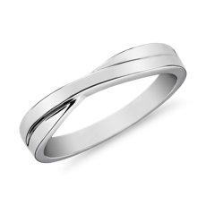 14k 白金交叉男士戒指(3.5毫米)