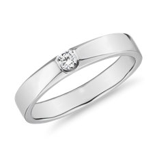 Flush Inset Diamond Male Ring in 18k White Gold (1/10 ct. tw.)