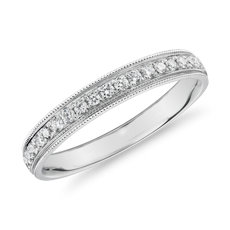 Channel Set Milgrain Diamond Female Ring in 18k White Gold (1/5 ct. tw.)