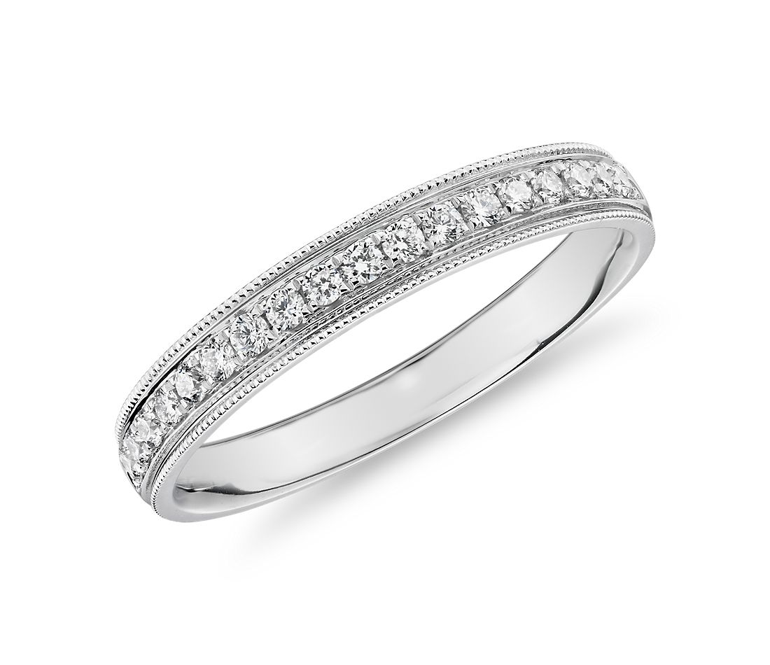 Channel Set Milgrain Diamond Female Ring in 14k White Gold (0.2 ct. tw.)