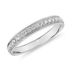 Channel Set Milgrain Diamond Female Ring in 14k White Gold (1/5 ct. tw.)