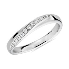 18k 白金弓式镶钻女士戒指(1/8 克拉总重量)