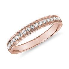 14k 玫瑰金锯状滚边槽镶钻石女士戒指<br>(1/5 克拉总重量)