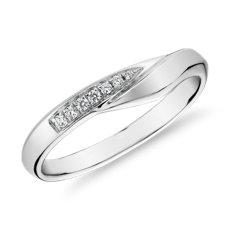 14k 白金峰式镶钻女士戒指(1/10 克拉总重量)
