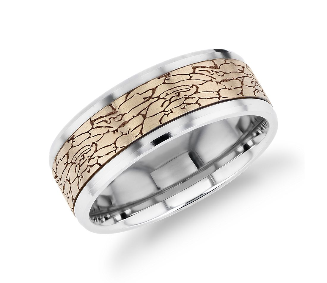 Crackled Texture Inlay Wedding Band in 14k Yellow and 14k White Gold (8mm)