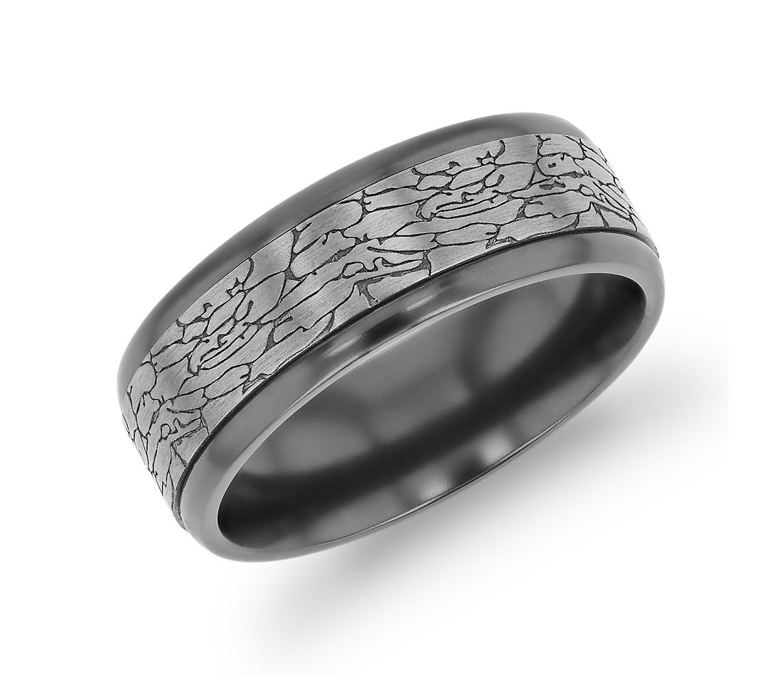 Crackled Texture Inlay Wedding Band in Black Titanium and Tantalum (8mm)