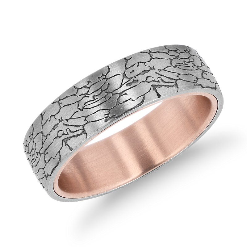 Crackled Texture Wedding Band in 14k White and 14k Rose Gold (6.5