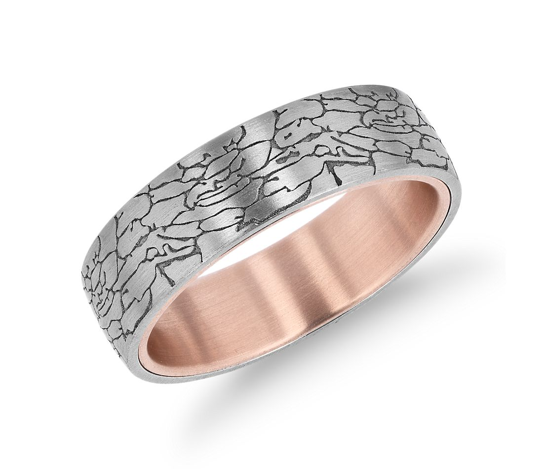 Crackled Texture Wedding Band in 14k White and 14k Rose Gold (6.5 mm)