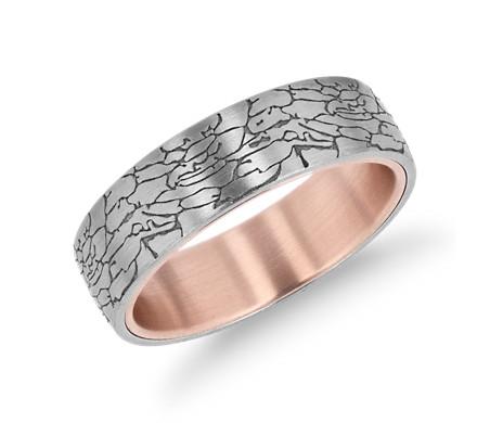 18k 白金及14k 玫瑰金裂紋質感結婚戒指( 6.5毫米)