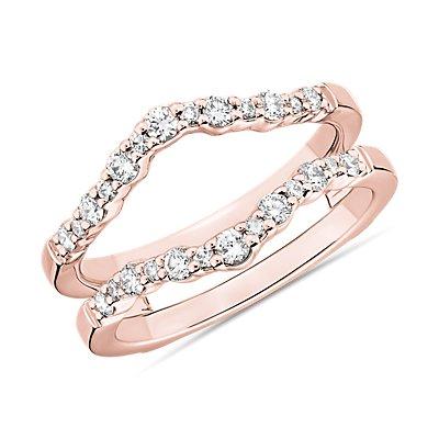 14k 玫瑰金圓弧曲線鑽石雙戒環戒指(3/8 克拉總重量)