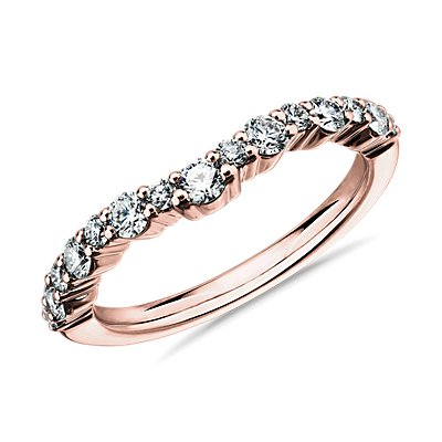 14k 玫瑰金圓弧曲線鑽石結婚戒指(1/2 克拉總重量)