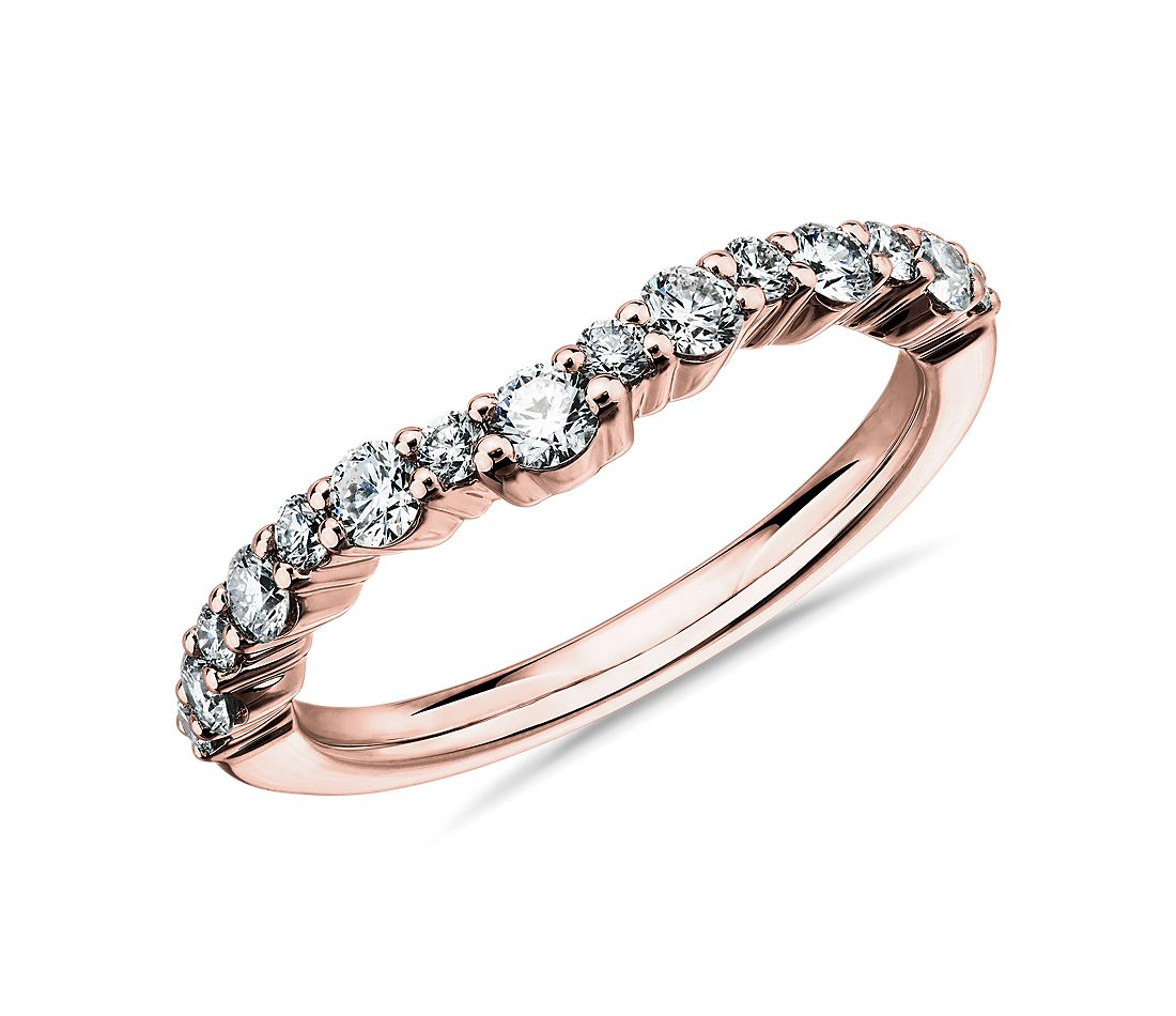 Crescendo Curved Diamond Wedding Ring in 14k Rose Gold (1/2 ct. tw.)