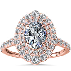 Crescendo Double Oval Diamond Halo Engagement Ring in 14k Rose Gold (3/4 ct. tw.)