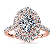 NEW Crescendo Double Oval Diamond Halo Engagement Ring in 14k Rose Gold (3/4 ct. tw.)