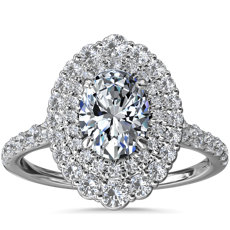 NEW Crescendo Double Oval Diamond Halo Engagement Ring in 14k White Gold (3/4 ct. tw.)