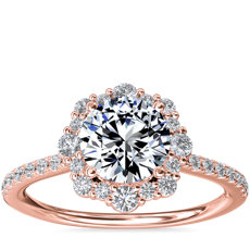 Crescendo Diamond Halo Engagement Ring in 14k Rose Gold (1/3 ct. tw.)