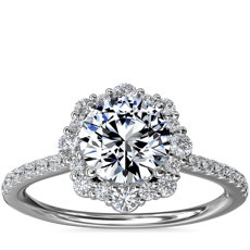 NEW Crescendo Diamond Halo Engagement Ring in 14k White Gold (1/3 ct. tw.)
