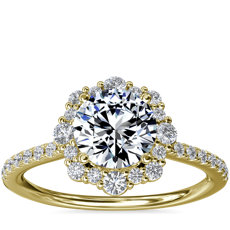 Crescendo Diamond Halo Engagement Ring in 14k Yellow Gold (1/3 ct. tw.)