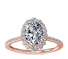 NEW Crescendo Oval Halo Diamond Engagement Ring in 14k Rose Gold (1/3 ct. tw.)