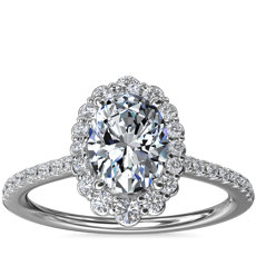 NEW Crescendo Oval Halo Diamond Engagement Ring in 14k White Gold (1/3 ct. tw.)